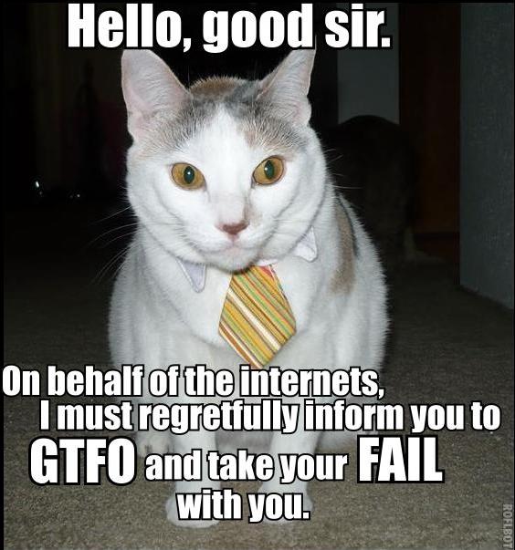 hello good sir gtfo take fail internets tie cat macro