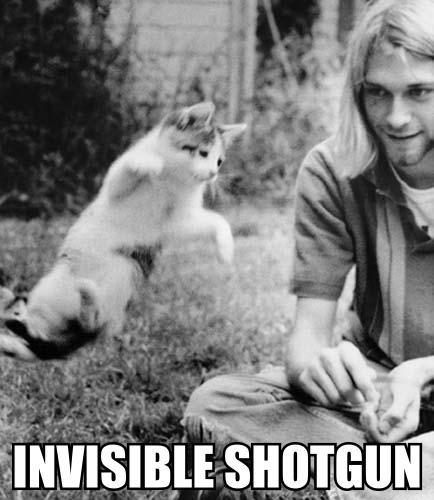 invisible gun shoot death kurt cobain nirvana flying meme cat macro