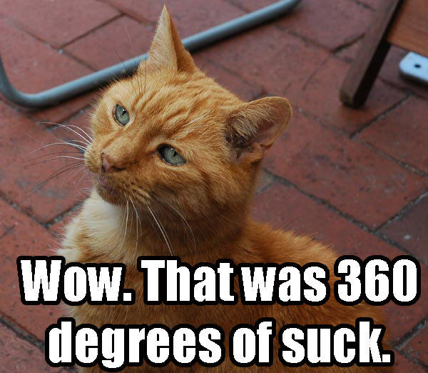 360 degrees suck fail insult lol cat macro
