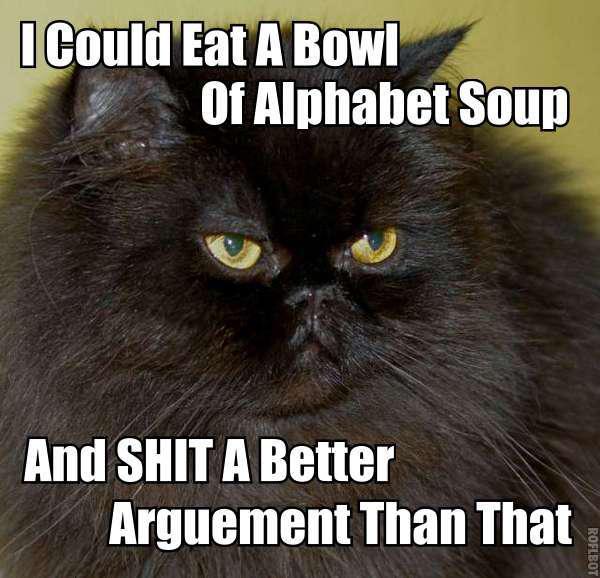 alphabet soup shit better argument insult lol cat macro