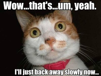 wow wtf shocked fail back away slowly lol cat macro