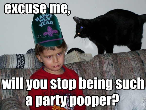 party pooper new years eve misery kid wearing hat lol cat macro