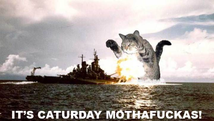 caturday meme giant cat military ship ocean sea explosion lol cat macro