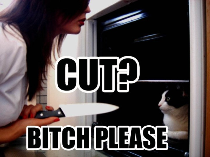 behind a cut bitch please woman with knife lol cat macro