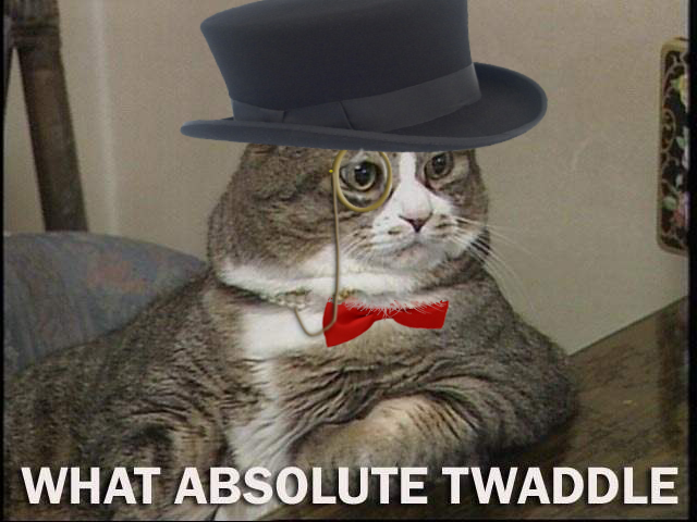 fat posh english top hat bow tie monocle cat macro